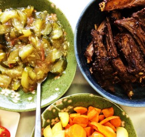 今日のごはん 骨付き鹿肉!!と夏野菜たち