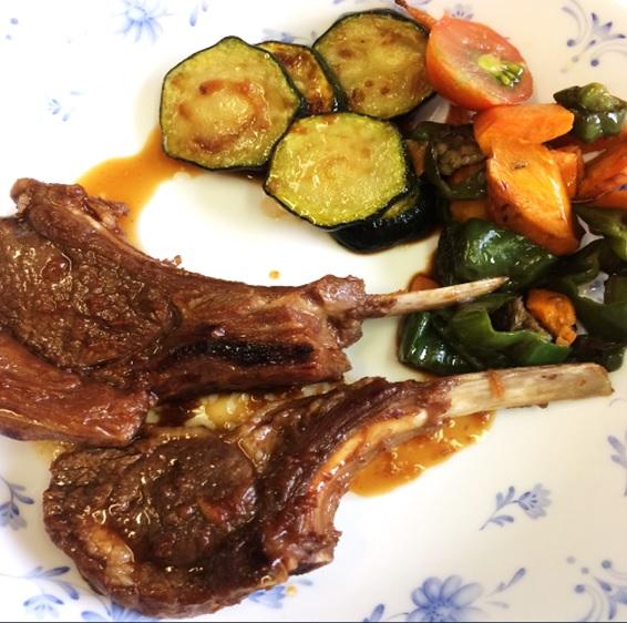 今日のごはん ラム肉と夏野菜たち